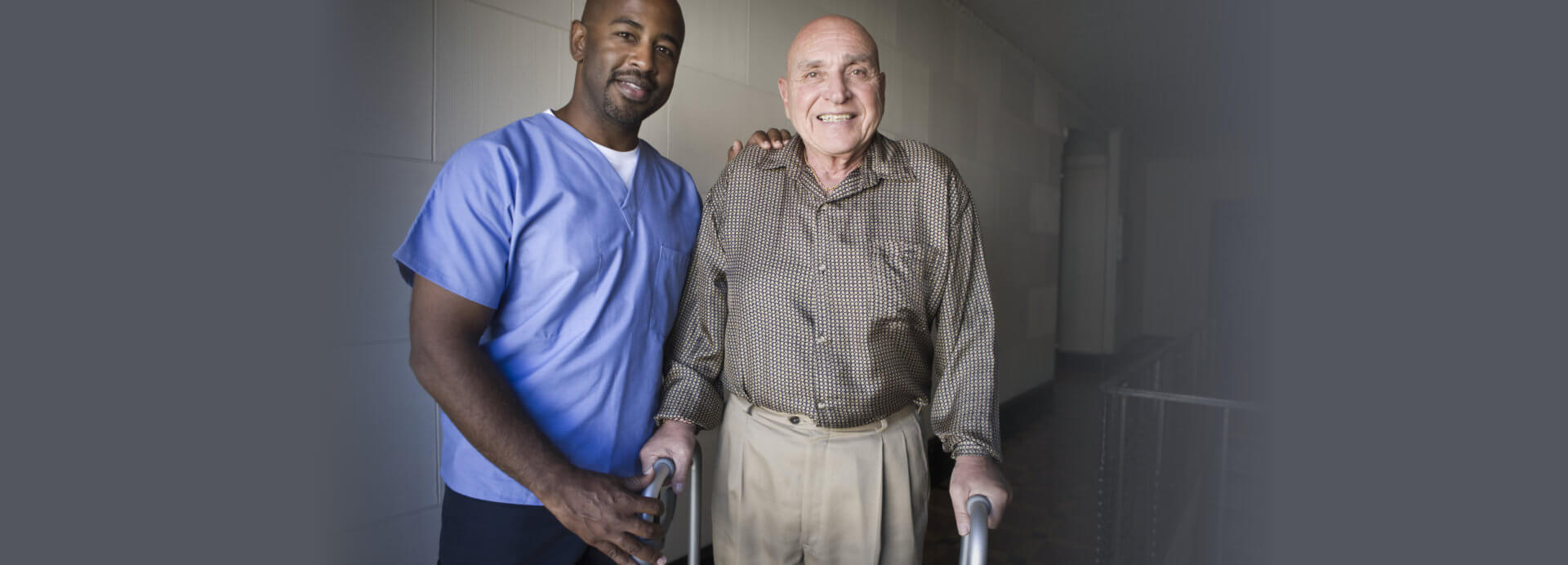 old man assisted by a black man